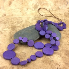 Amethyst Camino Wooden Long Necklace