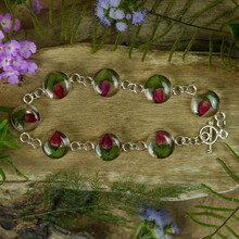 Single Rose Mexican Flowers Round Bracelet