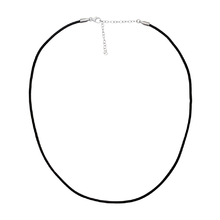 Leather Necklace with Silver Lock and Chain 42 cm