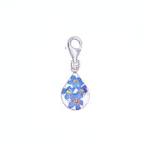 Blue Mexican Flowers Drop Charm with Clasp