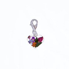 Garden Mexican Flowers Heart Charm with Clasp