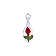 Single Rose Mexican Flowers Seed Charm with Clasp