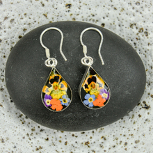 Garden Mexican Flowers Drop Small Hook Earrings
