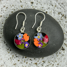 Garden Mexican Flowers Round Small Hook Earrings