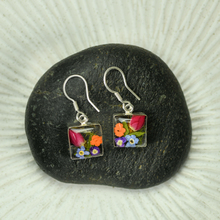 Garden Mexican Flowers Square Small Hook Earrings