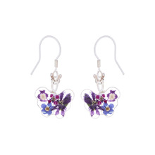 Purple Mexican Flowers Butterfly Small Hook Earrings