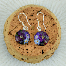 Purple Mexican Flowers Round Small Hook Earrings