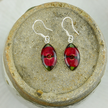 Red Mexican Flowers Seed Small Hook Earrings
