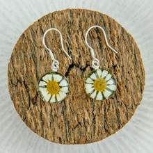 White Mexican Flowers Round Small Hook Earrings