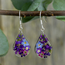 Purple Mexican Flowers Drop Medium Earrings