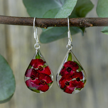 Red Mexican Flowers Drop Medium Earrings
