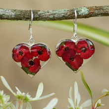 Red Mexican Flowers Heart Medium Hook Earrings
