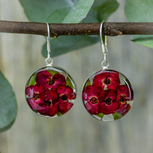 Red Mexican Flowers Round Medium Hook Earrings