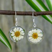 White Mexican Flowers Round  Medium Hook Earrings