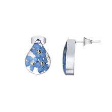 Blue Mexican Flowers Drop Small Stud Earrings