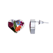 Garden Mexican Flowers Heart Small Stud Earrings