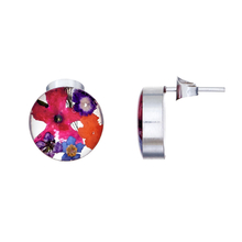 Garden Mexican Flowers Round Small Stud Earrings