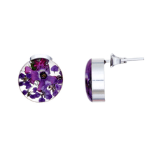 Purple Mexican Flowers Round Small Stud Earrings