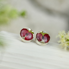 Red Mexican Flowers Round Small Stud Earrings