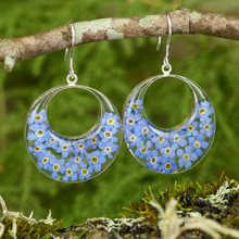Blue Mexican Flowers Round Cut Out Earrings