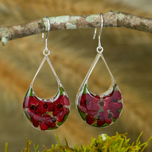 Red Mexican Flowers Drop Cut Out Hook Earrings