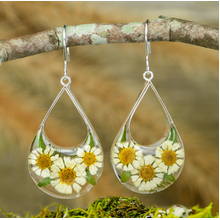 White Mexican Flowers Drop Cut Out Hook Earrings