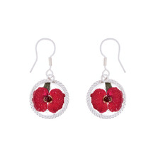 Red Mexican Flowers Round Baroque Small Hook Earrings