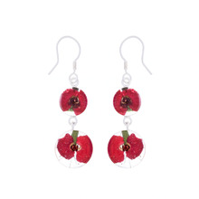 Red Mexican Flowers Round Graduated Double Hook Earrings