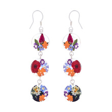 Garden Mexican Flowers Round Triple Hook Earrings