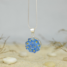Blue Mexican Flowers Small Round Necklace