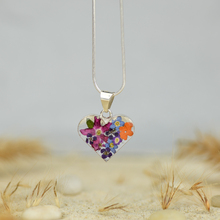 Garden Mexican Flowers Small Heart Necklace