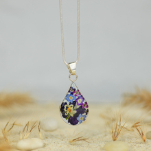 Purple Mexican Flowers Small Drop Necklace