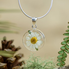 White Mexican Flowers Small Round Necklace