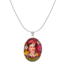 Frida Kahlo Mexican Flowers Red Bow Medium Necklace