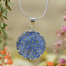 Blue Mexican Flowers Round Medium Necklace