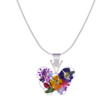 Garden Mexican Flowers Medium Butterfly Necklace