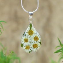 White Mexican Flowers Medium Drop Necklace