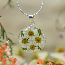 White Mexican Flowers Round Medium Necklace