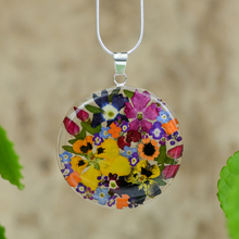 Garden Mexican Flowers Large Round Necklace