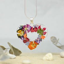 Garden Heart Mexican Flowers Large Cut-Out Necklace