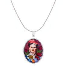 Frida Kahlo Mexican Flowers Red Bow Medium Baroque Necklace
