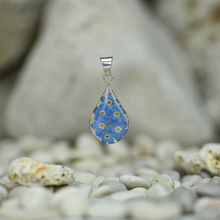 Blue Mexican Flowers Small Drop Pendant