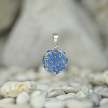 Blue Mexican Flower Small Round Pendant