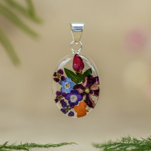 Garden Mexican Flowers Small Oval Pendant