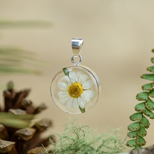 White Mexican Flowers Small Round Pendant