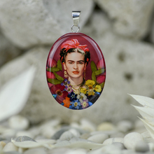 Frida Kahlo Mexican Flowers Red Bow Large Pendant