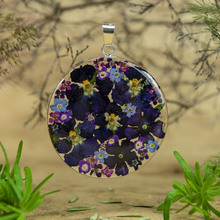 Purple Mexican Flowers Large Round Pendant