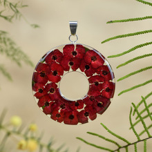 Red Mexican Flowers Large Donut Pendant