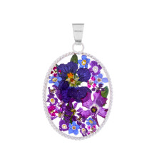 Purple Mexican Flowers Oval Baroque Medium Pendant