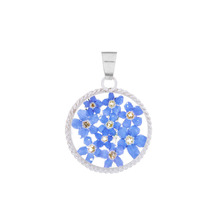 Blue Mexican Flowers Round Baroque Small Pendant